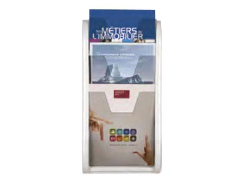 Promocome - Trieur mural / Porte-brochures monobloc 3 niveaux A4 - blanc
