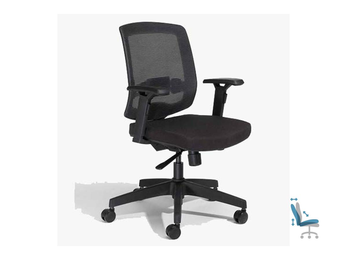 Fauteuil de bureau ergonomique MALICE - accoudoirs réglables - Noir