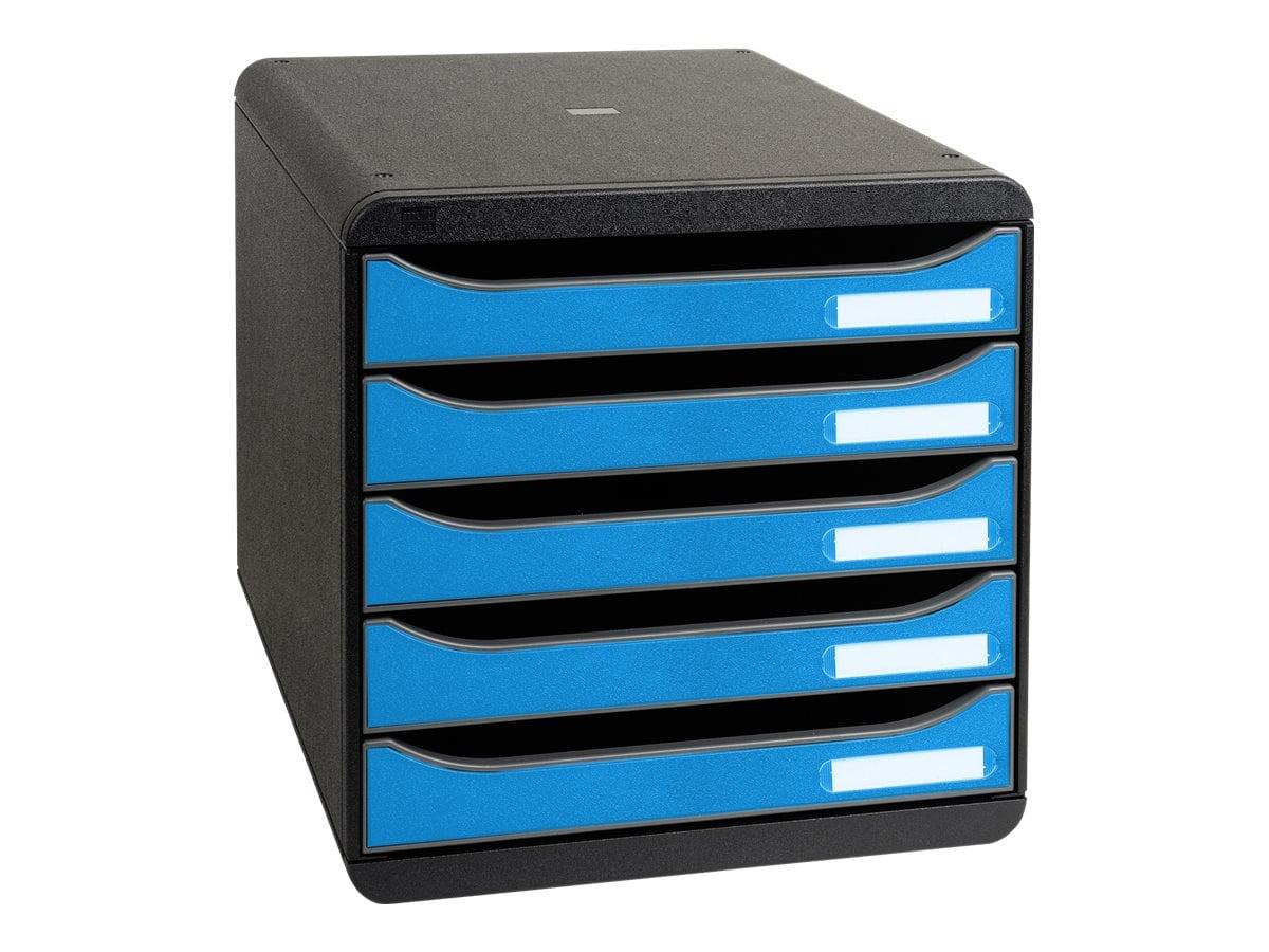Exacompta Clean'Safe - Module de classement 5 tiroirs - noir/bleu