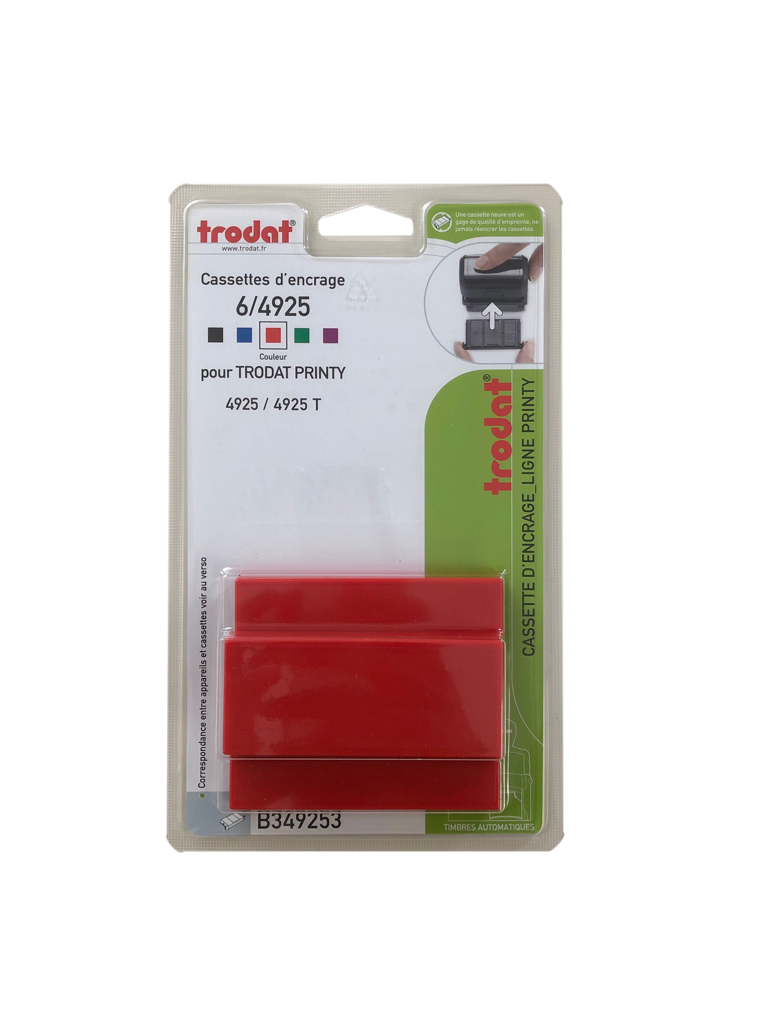 Trodat - 3 Encriers 6/4925 recharges pour tampon Printy 4925 - rouge