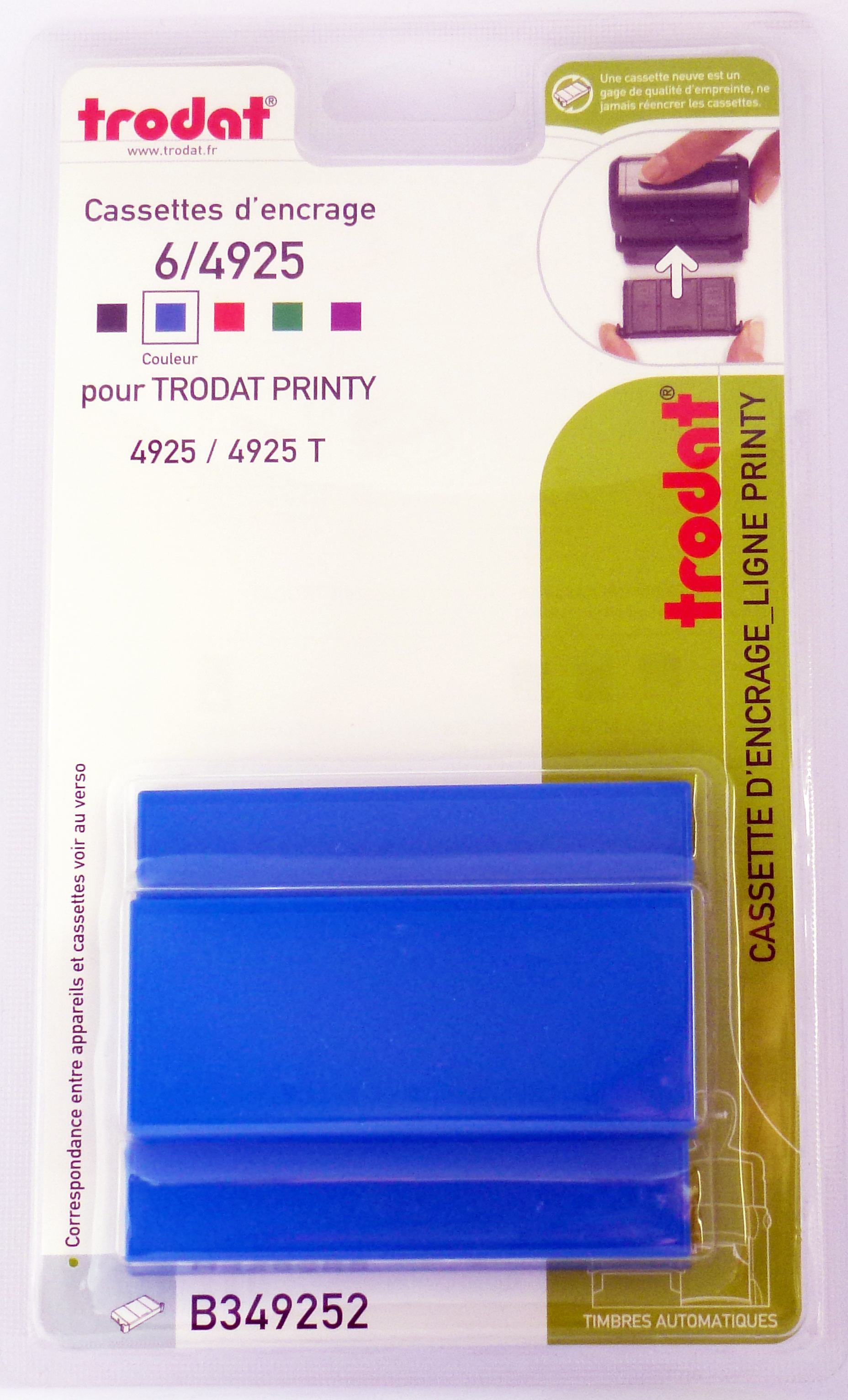 Trodat - 3 Encriers 6/4925 recharges pour tampon Printy 4925 - bleu