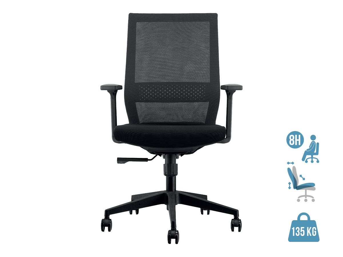 Fauteuil de bureau MAX - accoudoirs réglables - noir
