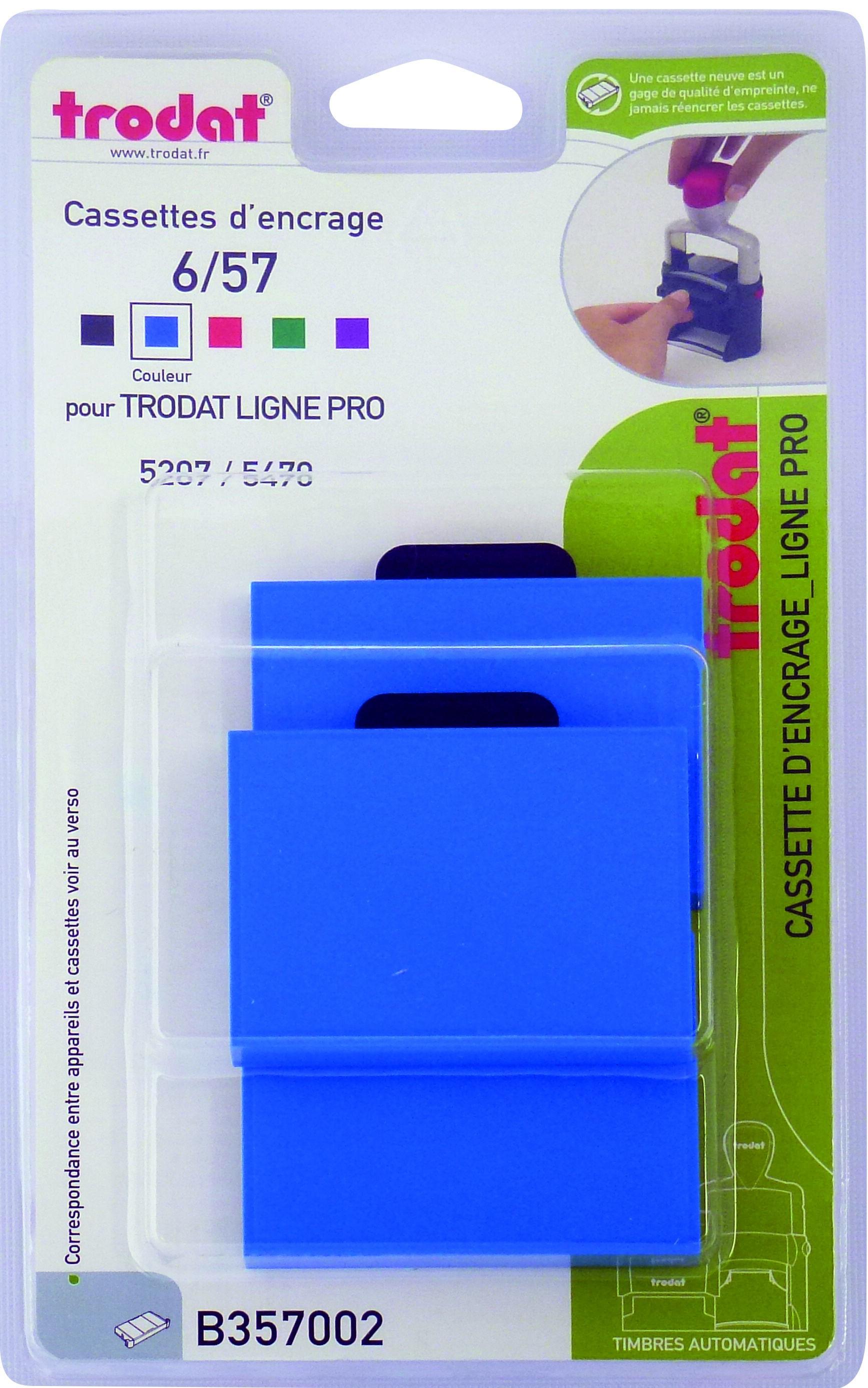 Trodat - 3 Encriers 6/57 recharges pour tampon 5207/5470 - bleu