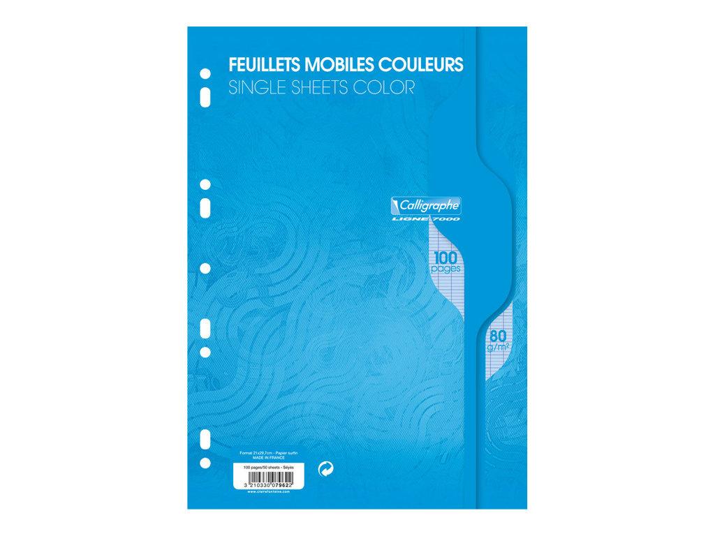 Calligraphe - 100 feuilles simples A4 - grands carreaux (Seyes) - perforées - bleu