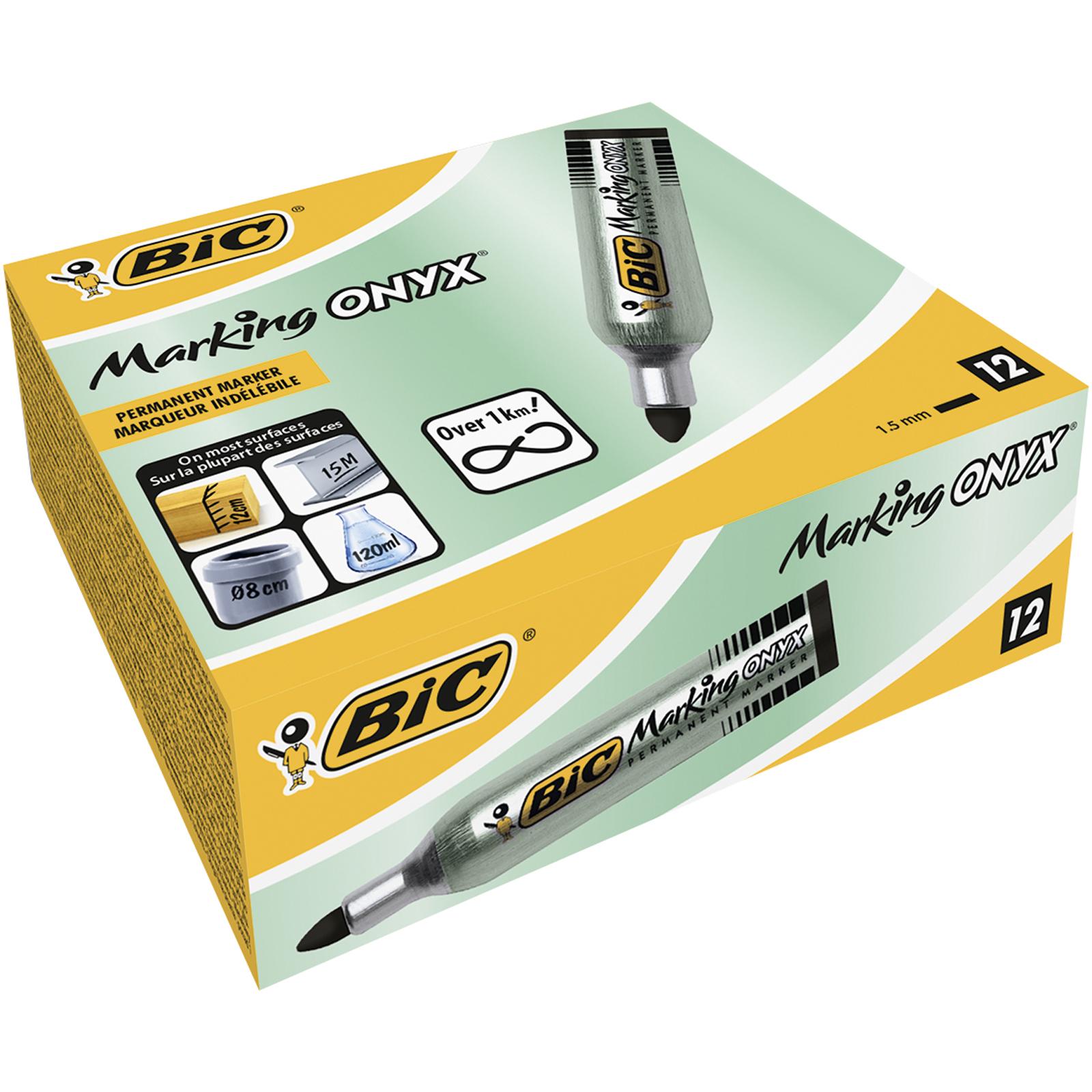 BIC ONYX 1482 - Pack de 12 marqueurs permanents - pointe ogive - noir